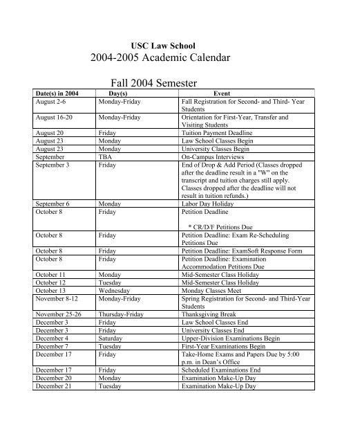 2004 2005 Academic Calendar Fall Semester