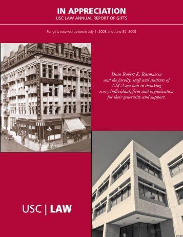 donor report 2008-2009.pub - USC Gould School of Law - University ...