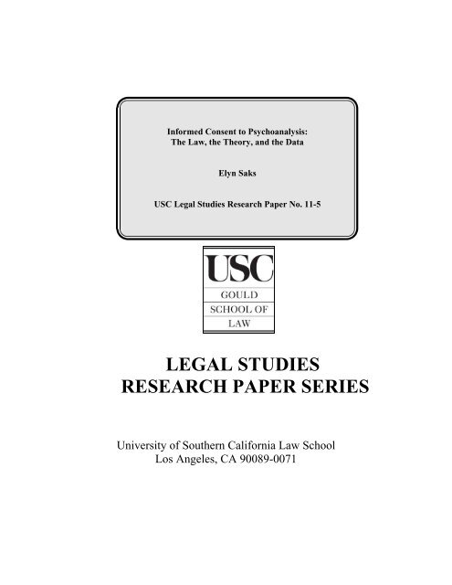 legal studies research paper series - USC Gould School of Law ...