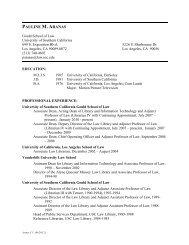 PAULINE M. ARANAS - USC Gould School of Law - University of ...