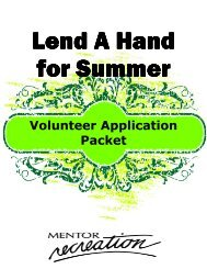Volunteer Application Packet - City of Mentor