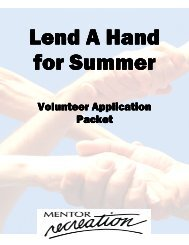 Lend A Hand For Summer Application 2012 - City of Mentor