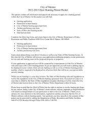 City of Mentor 2012-2013 Deer Hunting Permit Packet