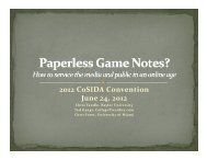 Paperless Game Notes - CoSIDA