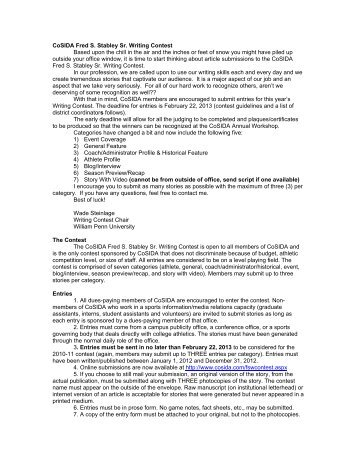 Stabley Writing Contest guidelines and rules - CoSIDA