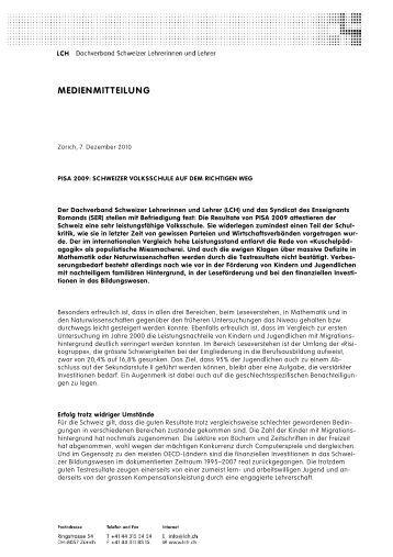 PISA 2009: Schweizer Volksschule auf dem richtigen Weg