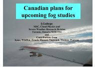 Canadian plans for upcoming fog studies - LCRS
