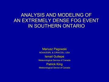 analysis and modeling of an extremely dense fog event in ... - LCRS