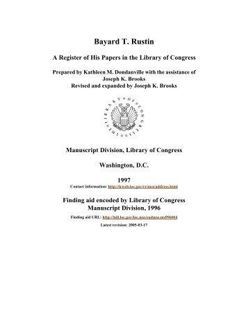 Papers of Bayard Rustin - American Memory - Library of Congress