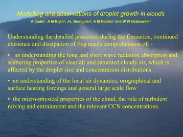 Modelling and observations of droplet growth in clouds ( , 0 ... - LCRS