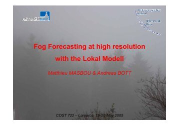 Fog Forecasting at high resolution with the Lokal Modell ( , 3 ... - LCRS