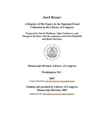 Josef Breuer Papers in the Sigmund Freud Collection - Library of ...