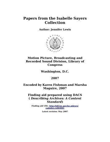 Papers from the Isabelle Sayers Collection - Library of Congress