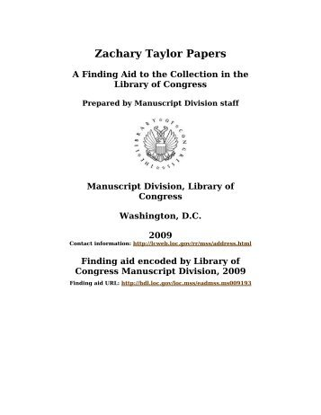 Zachary Taylor Papers [finding aid]. - American Memory - Library of ...