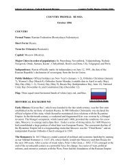 COUNTRY PROFILE: RUSSIA October 2006 - Library of Congress