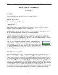 Country Profile: Uzbekistan - Library of Congress
