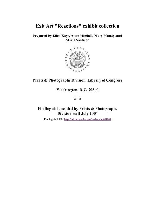 Exit Art Reactions Exhibit Collection American Memory Library Of