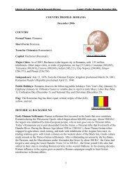 Country Profile: Romania - Library of Congress