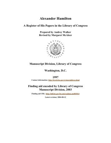 Papers of Alexander Hamilton - American Memory - Library of ...