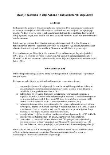 Ozadje nastanka in cilji zakona o radioamaterski dejavnosti - Zveza ...