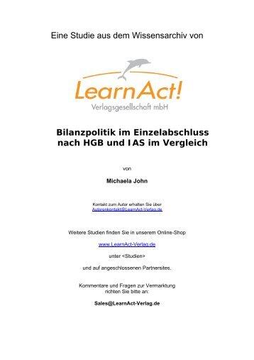 Eine Studie aus dem Wissensarchiv von Bilanzpolitik im ... - LearnAct!