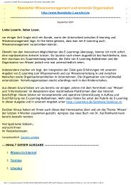 LearnAct! GmbH Wissensmanagement Newsletter September 2001