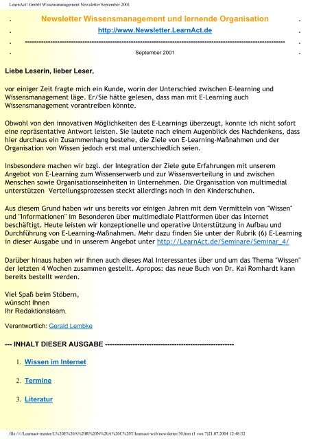 LearnAct! GmbH Wissensmanagement Newsletter September 2001