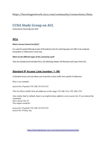 CCNA Study Group on ACL - The Cisco Learning Network