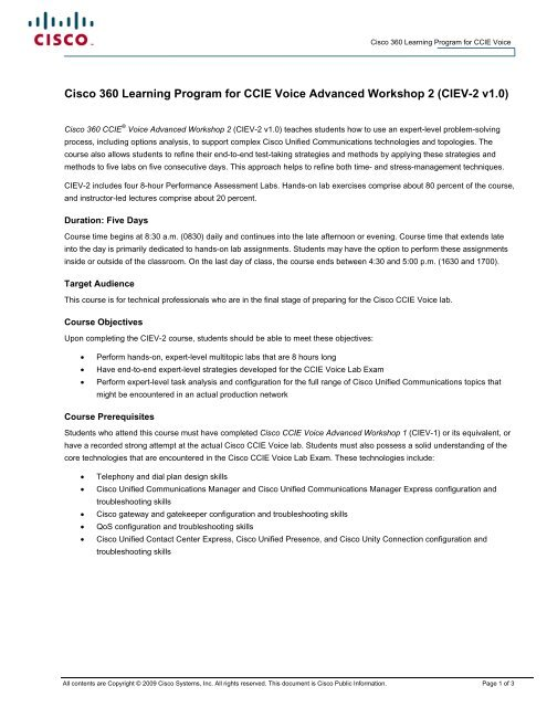 Cisco 360 Learning Program for CCIE Voice Advanced Workshop