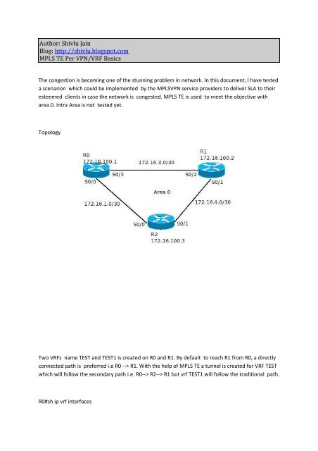 MPLS TE Per VRF pdf - The Cisco Learning Network