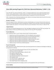 Cisco 360 Learning Program for CCIE Voice Advanced Workshop 1 ...