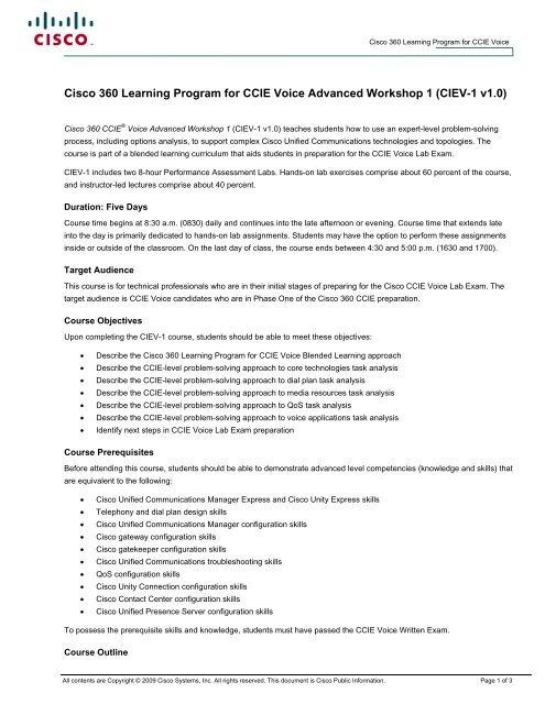 Cisco 360 Learning Program for CCIE Voice Advanced Workshop
