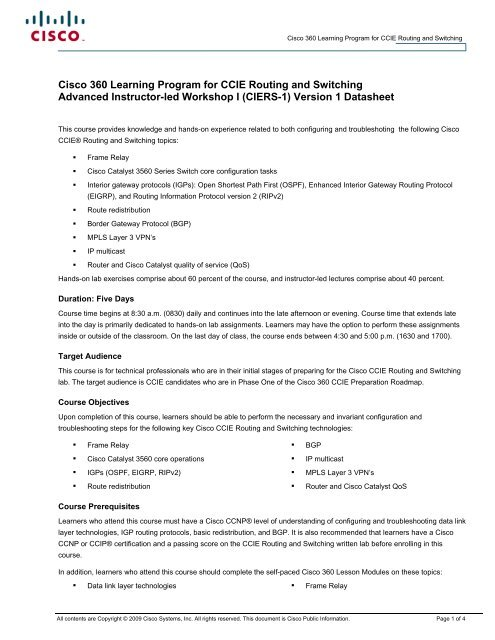 Cisco 360 Learning Program for CCIE Routing and Switching