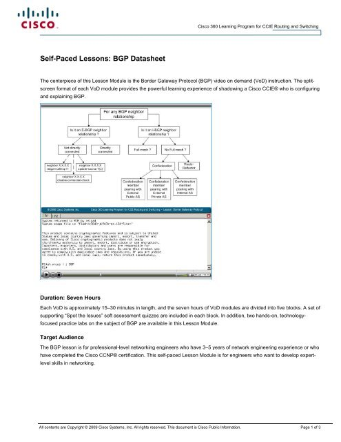 Self-Paced Lessons BGP Datasheet pdf - The Cisco Learning Network