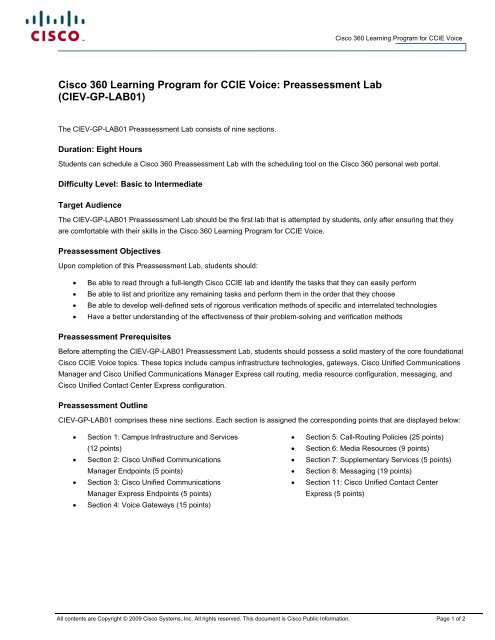 CIEV-GP-LAB01 - The Cisco Learning Network