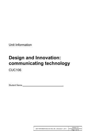 CUC106 Unit Information - Learnline - Charles Darwin University