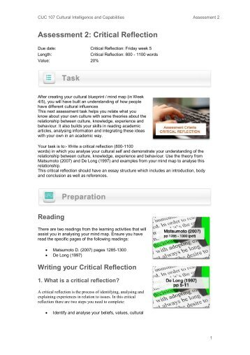 Assessment 2: Critical Reflection - Learnline - Charles Darwin ...