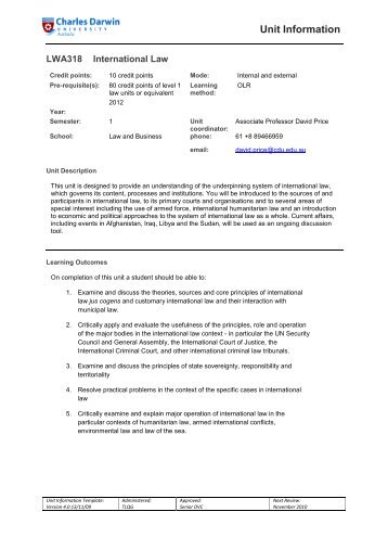 LWA318 International Law - Learnline - Charles Darwin University