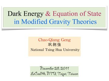 Dark Energy & Equation of State in Modified Gravity Theories