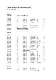 Zeitplan Westdeutsche Jugendmeisterschaft - IPZV
