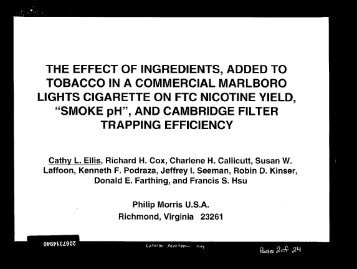 the effect of ingredients, added to tobacco in a commercial - Legacy ...