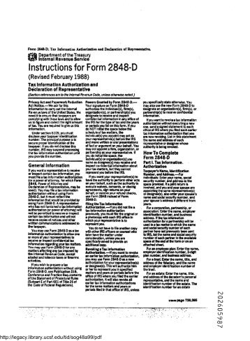 Form M 2848 Power Of Attorney And Declaration Of Representative