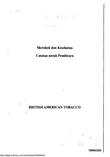 Merokok dan Kesehatan Catatan untuk Pembicar a BRITISH ...