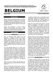 Belgium Profile on Counter-Terrorist Capacity - Council of Europe