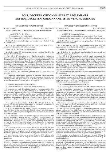lois, decrets, ordonnances et reglements wetten ... - Legislationline