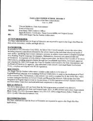 OAKLAND UNIFIED SCHOOL DISTRICT TO: FROM: RE: ACTION ...