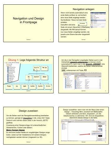 Navigation und Design in Frontpage - lehrer