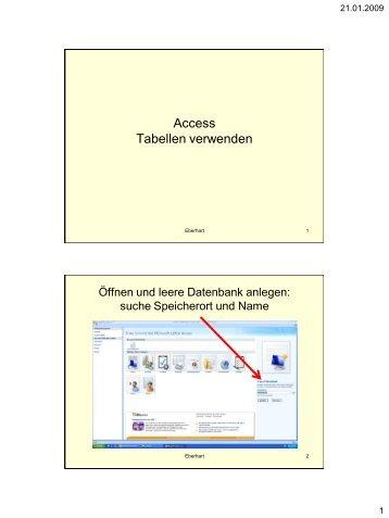 Access Tabellen verwenden - Lehrer