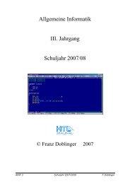 Allgemeine Informatik III. Jahrgang Schuljahr 2007/08 - lehrer
