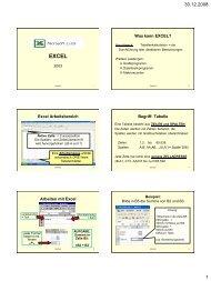Was kann EXCEL? Excel Arbeitsbereich Begriff: Tabelle ... - schule.at